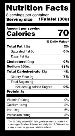 Falafel Cake Nutrition Label