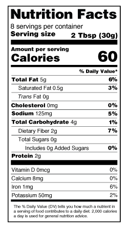 Garlic Hummus Nutrition Label