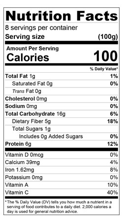 Green Chickpea Nutrition Label