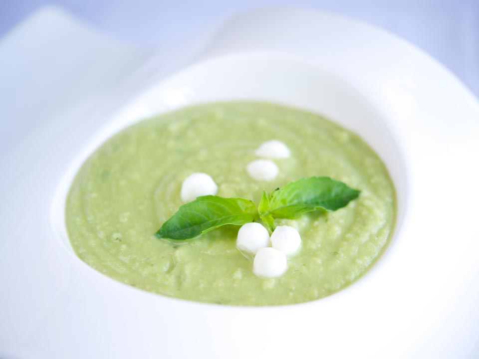 Green Chickpea Basil Bisque