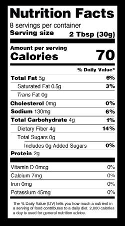 Classic Hummus Nutrition Label