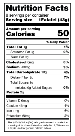 Southwest Cake Nutrition Label